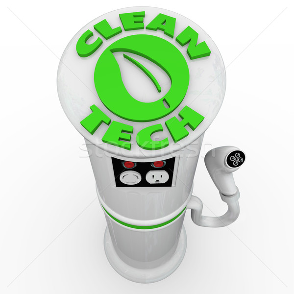 Stock photo: Clean Tech EV Electric Vehicle Car Charging Station Power Plug