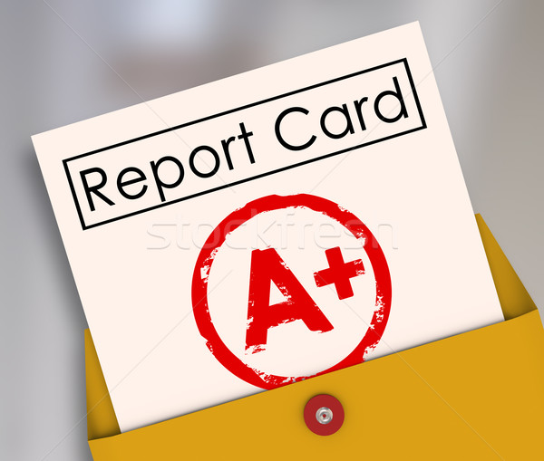 Report Card A+ Plus Top Grade Rating Review Evaluation Score Stock photo © iqoncept