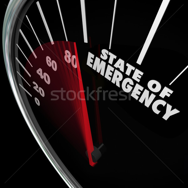 State of Emergency Speedometer Words Fast Approaching Crisis Stock photo © iqoncept