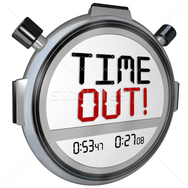 Time Out Words Break Pause Stopwatch Timer Game Intermission Stock photo © iqoncept