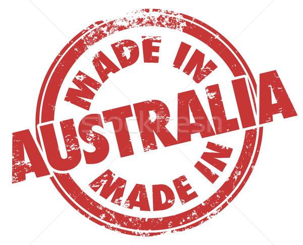 Australia rojo tinta grunge sello producción Foto stock © iqoncept