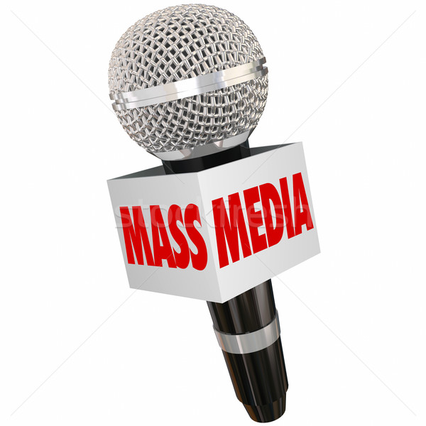 Stock photo: Mass Media Microphone Words Box Interview Reporting