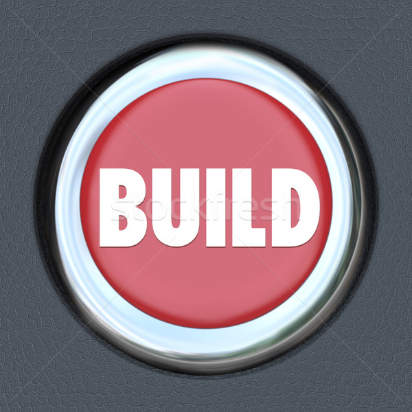 Build Red 3d Button Begin Construction Development Work Stock photo © iqoncept