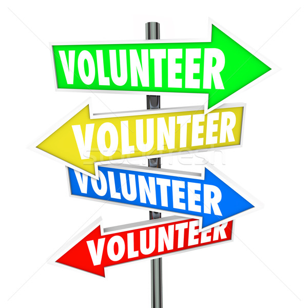 Volunteer Arrow Signs Share Donate Time Charity Work Stock photo © iqoncept