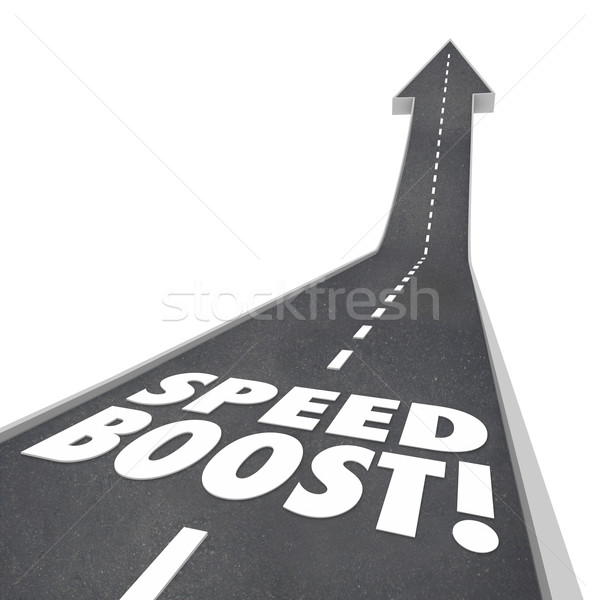 Speed Boost Words Road Increased Performance Fast Travel Stock photo © iqoncept