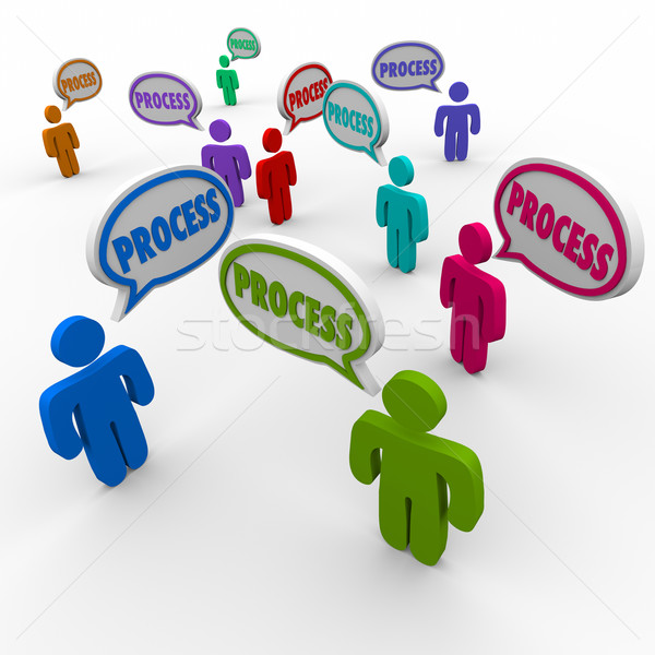 Process People Speech Bubbles Employees Workers Follow Procedure Stock photo © iqoncept