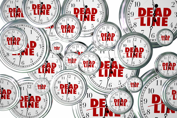 Ostateczny termin daty zegary pływające pilny słowa Zdjęcia stock © iqoncept