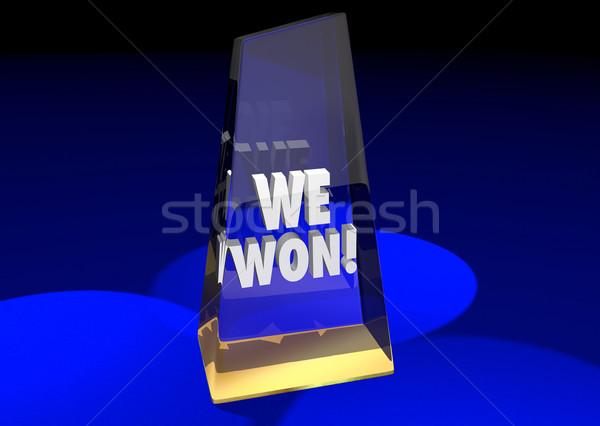 We Won Teamwork Together Game Prize Award Competition 3d Illustr Stock photo © iqoncept