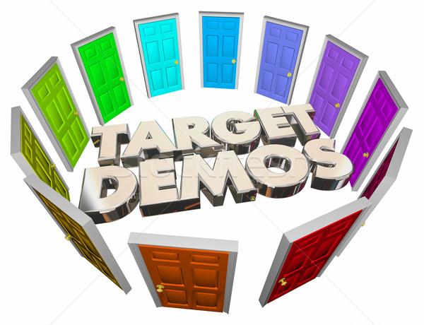 Cél sokoldalú emberek ajtók szavak 3D Stock fotó © iqoncept