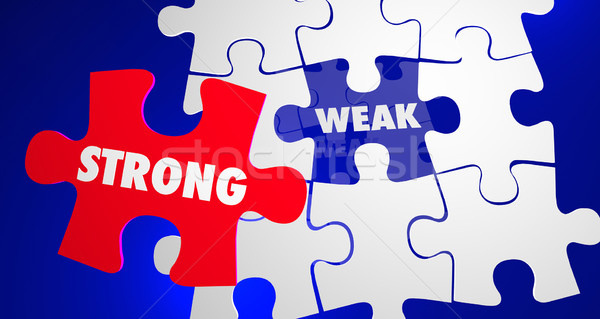 Strong Vs Weak Strength Overcomes Weakness Puzzle 3d Illustratio Stock photo © iqoncept