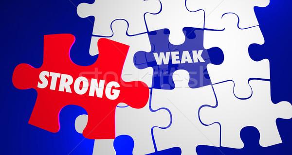Güçlü vs zayıf güç zayıflık bilmece Stok fotoğraf © iqoncept