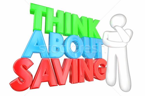 Gondolkodik takarékosság pénz pénzügyi tervezés 3d illusztráció jövő Stock fotó © iqoncept