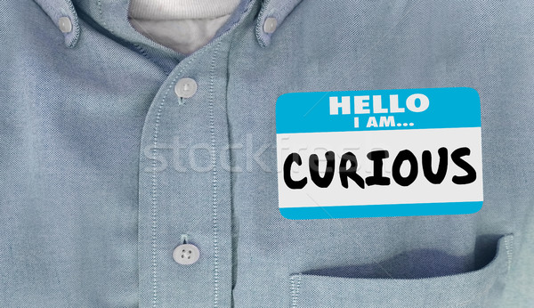 Curious Hello I Am Questioning Interested Name Tag 3d Illustrati Stock photo © iqoncept