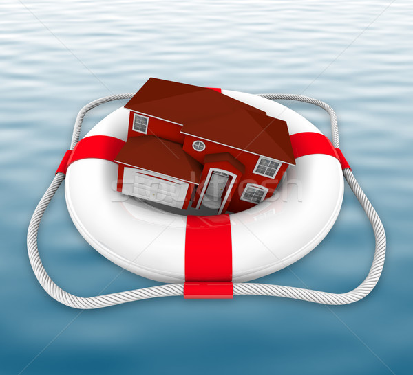 Home in Life Preserver on Water Stock photo © iqoncept