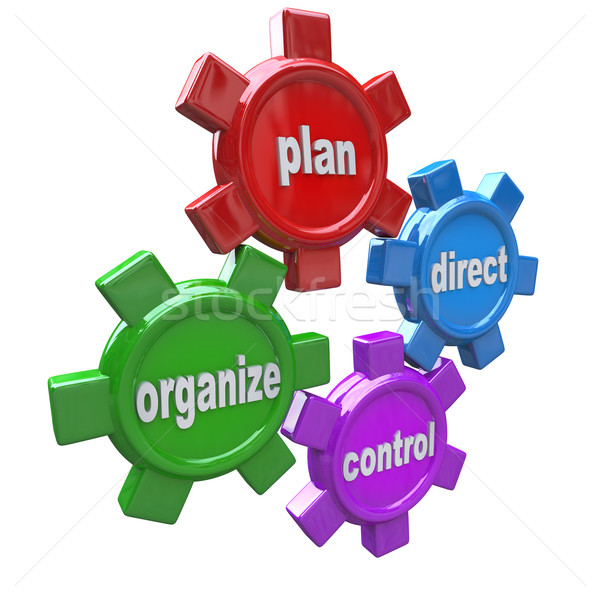 Four Principles of Management Leadership - Gears Stock photo © iqoncept