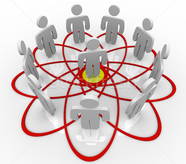 Venn Diagram Many People One Person in Center Stock photo © iqoncept