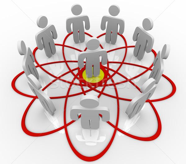 Diagrama muchos personas una persona centro red social Foto stock © iqoncept
