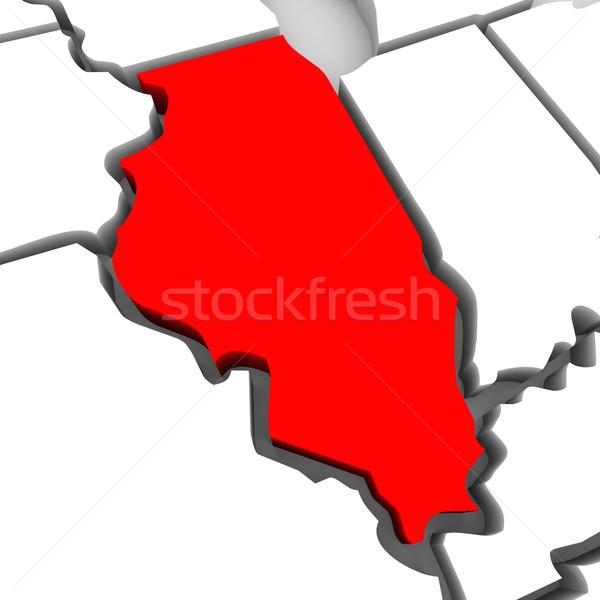 Illinois kırmızı soyut 3D harita Amerika Birleşik Devletleri Stok fotoğraf © iqoncept