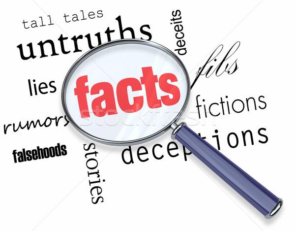 Keres tények vs fikció nagyító lebeg Stock fotó © iqoncept