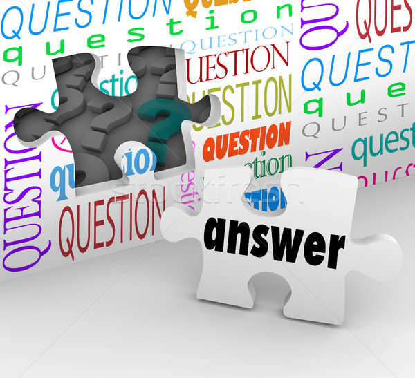 Question Wall Puzzle Piece Answer Complete Understanding Stock photo © iqoncept