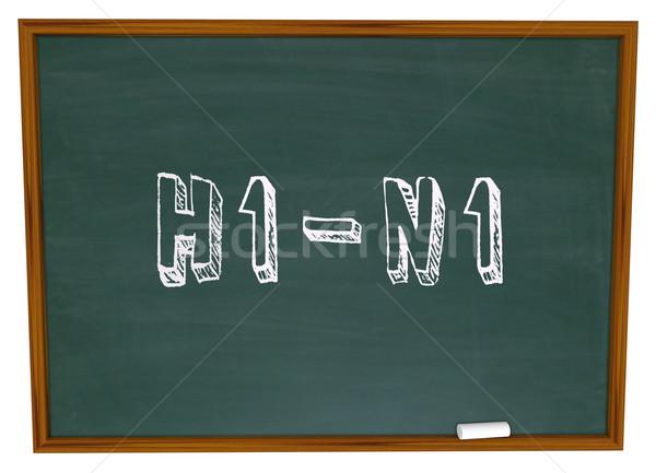H1n1 sözler kara tahta yazılı beyaz tebeşir Stok fotoğraf © iqoncept