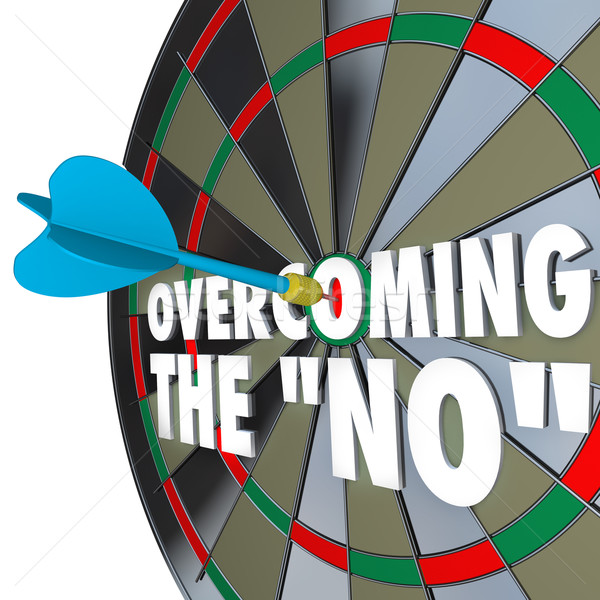 Overcoming the No Dart Bulls-Eye Dartboard Persuading Agreement Stock photo © iqoncept