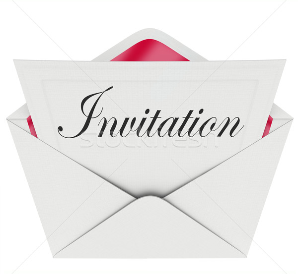 Invitation Word Card Envelope Invited to Party Event Stock photo © iqoncept