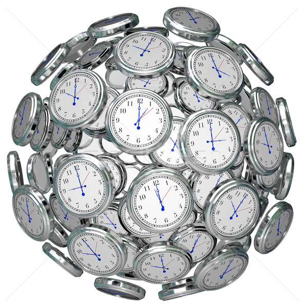 Clocks in Sphere Time Keeping Past Present Future Stock photo © iqoncept