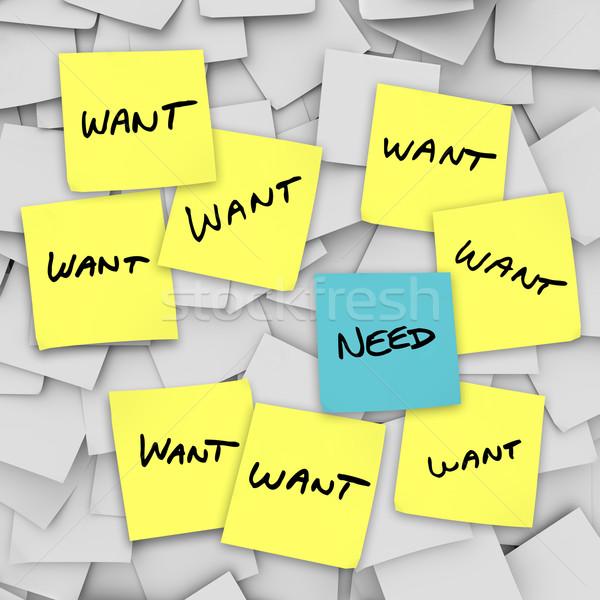 Wants Vs Needs - Sticky Notes Stock photo © iqoncept