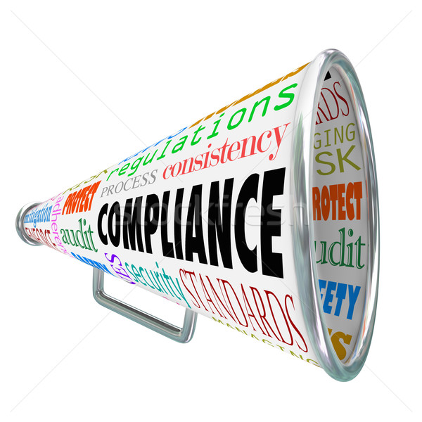 Compliance Bullhorn Megaphone Legal Process Guidelines Rules Law Stock photo © iqoncept