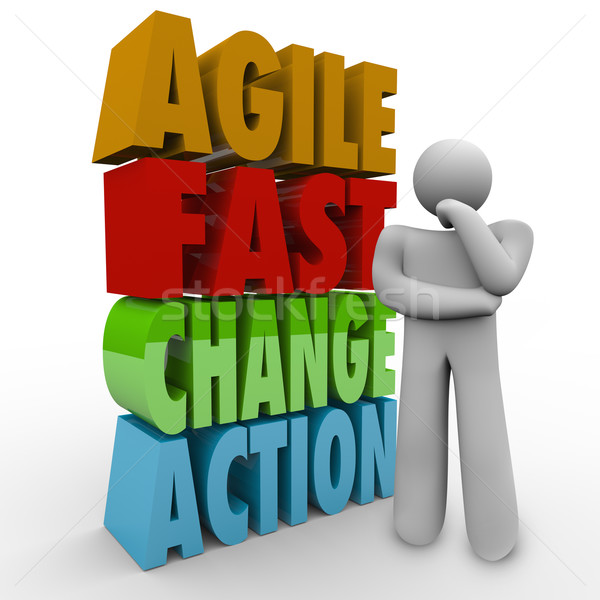 Agile Fast Change Action Thinker Words Agility Stock photo © iqoncept