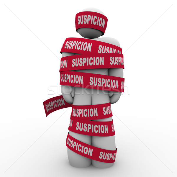 Suspicion Man Wrapped Red Tape Criminal Suspect Caught Stock photo © iqoncept