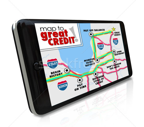 Map to Great Credit Score Rating Payment History Navigation Smar Stock photo © iqoncept