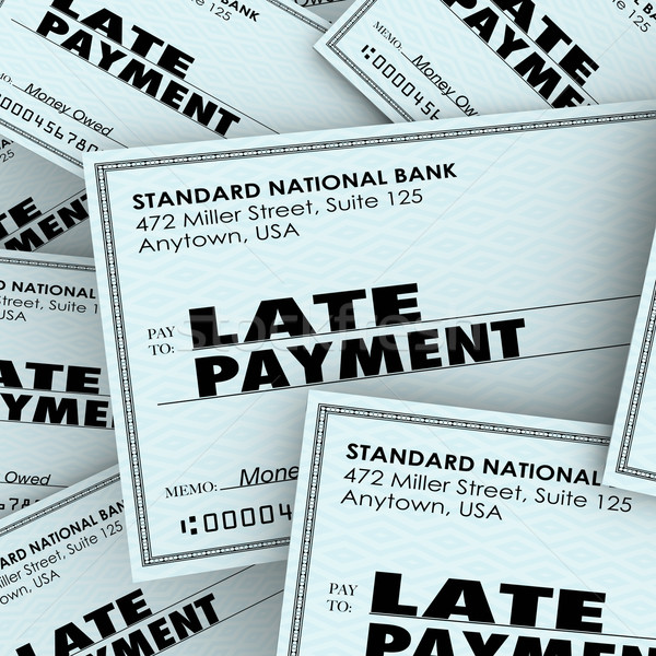 Late Payment Words Overdue Check Paying Bills Pile Stock photo © iqoncept