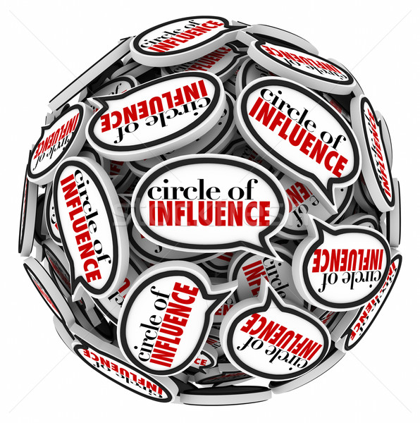 Circle of Influence Speech Bubble Sphere Communicating Network Stock photo © iqoncept