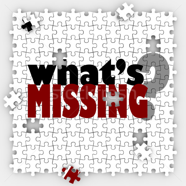 What's Missing Question Words Puzzle Holes Gaps Incomplete Pictu Stock photo © iqoncept