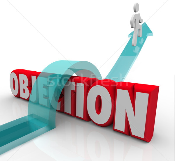 Objection Overcoming DIspute Challenge Negative Feedback Arrow O Stock photo © iqoncept