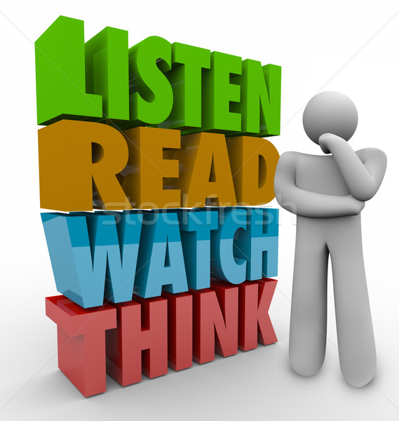 Learn Read Watch Think 3d Words Learning Process System Stock photo © iqoncept