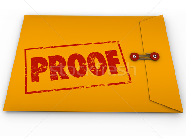 Proof Word Yellow Envelope Verification Evidence Testimony Stock photo © iqoncept