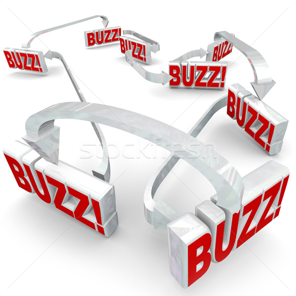 Buzz Connected 3d Words Arrows Gossip Sharing Spreading Hot News Stock photo © iqoncept