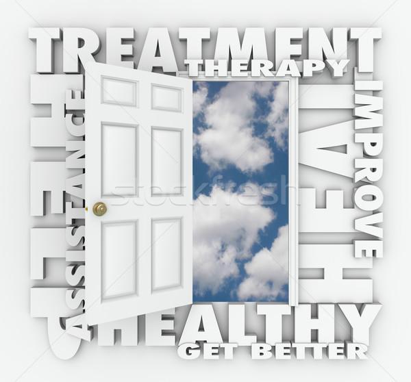 Tedavi tedavi tıbbi yardım kapıyı açmak Stok fotoğraf © iqoncept