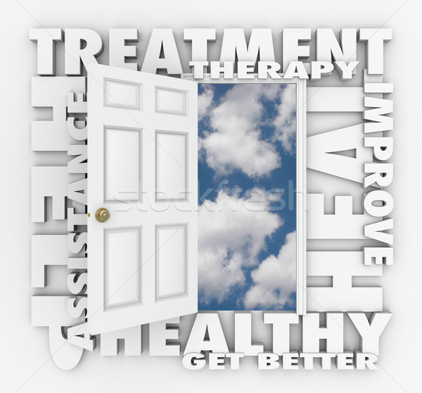 Tratamento terapia médico ajudar abrir a porta Foto stock © iqoncept