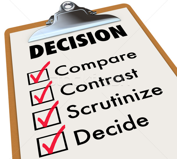 Decision Checklist Clipboard Compare Contrast Choose Options Stock photo © iqoncept