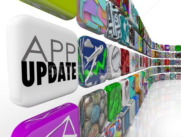 App Updates 3d Tiles Applications Programs Software Upgrade Patc Stock photo © iqoncept