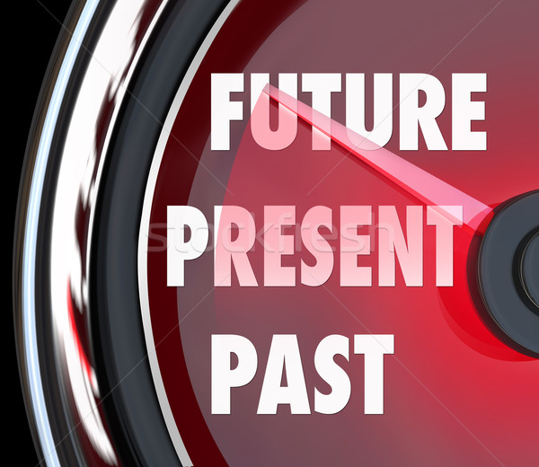 Toekomst aanwezig verleden snelheidsmeter woorden volgende Stockfoto © iqoncept