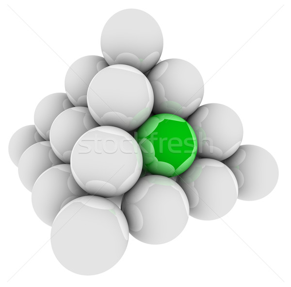 Stock photo: Green Ball Unique Different Special Pyramid Standing Out