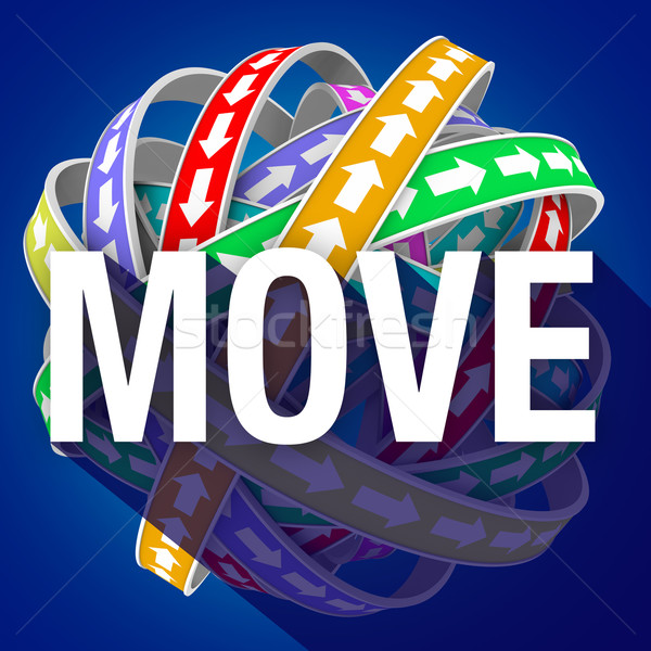 Move Word Long Shadow Arrows Motion Forward Mobility Stock photo © iqoncept