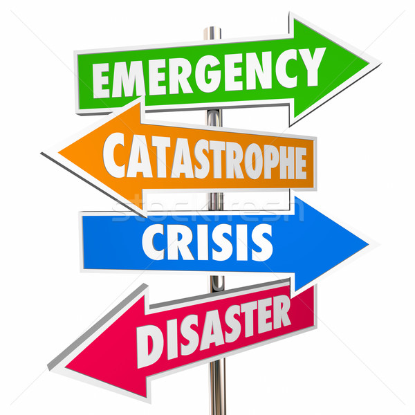 Emergency Crisis Catastrophe Disaster Warning Signs 3D Stock photo © iqoncept