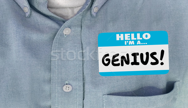 Stock photo: Genius Smart Intelligent Educated Name Tag Sticker Word Shirt