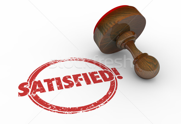 Satisfied Stamp Word Customer Service 3d Illustration Stock photo © iqoncept